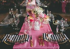 PInk and black place setting