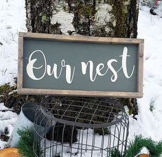 Our nest-framed wood sign-rustic wall decor-gallery wall
