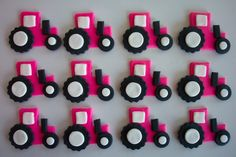 Tractors Pink Fondant Cupcake or Cookie Toppers by cookiecovers, $16.95