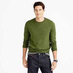Our cotton-cashmere crewneck sweater packs a one-two punch: Combining the ease of cotton with the warmth of cashmere, it's perpetually pulled together and seriously comfortable (and it just happens to be completely machine washable). <ul><li>Slim fit, cut more narrowly through the body and sleeves.</li><li>Cotton/cashmere.</li><li>Machine wash.</li><li>Import.</li><li>Online only.</li></ul>