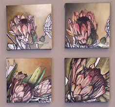 Proteas | Anina Deetlefs Protea Art, Art Floral, Mural Painting, Painting & Drawing, Abstract Canvas Art, Abstract Flowers, Botanical Art, Painting Inspiration, Creative Art