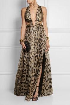 Roberto Cavalli|Cutout leopard-print silk-chiffon gown|NET-A-PORTER