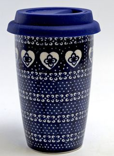 Travel Mug (Nordic Hearts) from The Polish Pottery Outlet