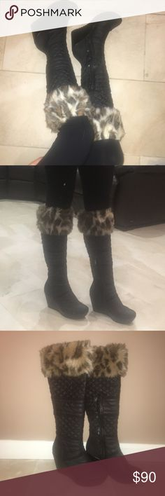 Guess boots These guess wedge fur boots are so cute! Never worn! NWOT. Fur at the top, and quilted material along the boot. The heel height is about 3 in. They are very comfortable. Guess Shoes Heeled Boots