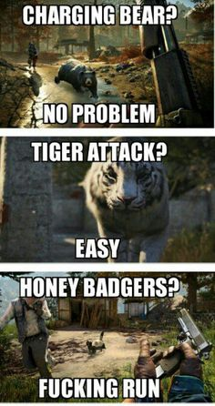 Far Cry: Honey badger don't care, Honey badger doesn't give a f*ck! #farcry #honeybadgerdontcare