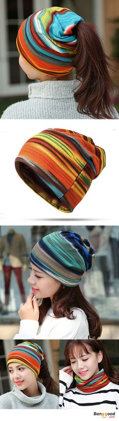 Women Cotton Colorful Stripe Beanie Hat Casual Outdoor Windproof Cap Collar Scarf. Bean hat, scarf, suitable for all seasons. Flexible, Fits Most; Stripes, classical elements, suitable for multiple occasions. 5 colors to match your style. Get the look!
