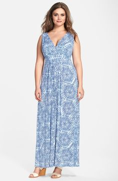 'Chloe' Print Empire Waist Jersey Maxi Dress (Plus Size)