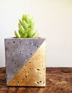 Mod concrete planter geometric gold leaf by veryfinesouth on Etsy, $20.00