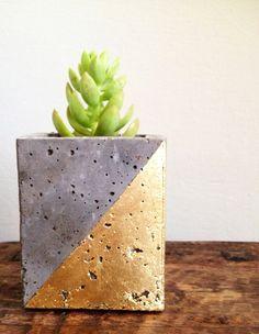 Mod concrete planter geometric gold leaf by veryfinesouth on Etsy, $20.00
