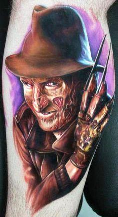 Freddy Krueger from horror movies A Nightmare on Elm Street, realistic tattoo work done by tattoo artist Paul Acker Leg Tattoos, Body Art Tattoos, Tattoos For Guys, Cool Tattoos, Tatoos, Portrait Tattoos, Monster Tattoo, Freddy Krueger, Paul Acker