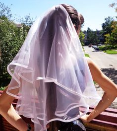 White long length veil is perfect for bachelorette party or wedding. It could be great for the bride and bridesmaids. Veil is also great for flower girls, or little girls who just want to dress up like a bride for fun! Veil length is about - 63 cm or 24.8 inch. WITH THE HAIR COMB!  Please, VISIT MY SHOP to see all my bachelorette party veils. I have HUGE ASSORTMENT - different models and colors! You will definetely find something for yourself!  I can make custom veil for you! I am happy to…