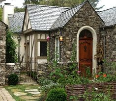 Once upon a time.a stone front cottage. this is a dream cottage Tudor House, Tudor Cottage, Cottage Living, Cottage Homes, Cottage Bedrooms, Cottage Gardens, English Cottage Exterior, Witch Cottage, Cottage Kitchens