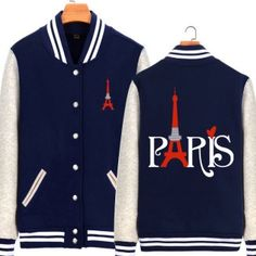 Eiffel Tower baseball jacket Paris letter graphic sweatshirt