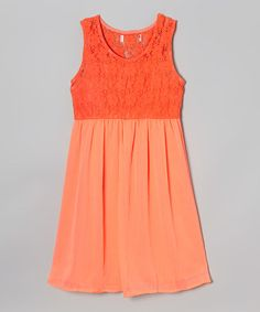 Look what I found on #zulily! Coral Floral Lace Skater Dress by Cool and Cute #zulilyfinds