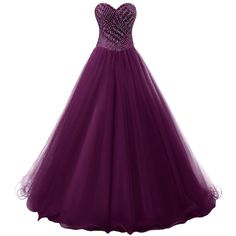 Dresstells Long Prom Dress Tulle Ball Gown Formal Party Dress... ($150) ❤ liked on Polyvore featuring dresses, gowns, long formal dresses, long purple dress, long evening gowns, prom gowns and long prom dresses