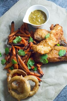 Rum Battered Fish With Sweet Potato Fries and Coconut Curry Sauce.