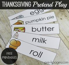 FREE Thanksgiving Feast Dramatic Play Printables for Preschool and Kindergarten.. Word cards to inspire oral language and vocabulary development + motivation to write! Make learning fun with these hands-on play activities to develop oral language and vocabulary!