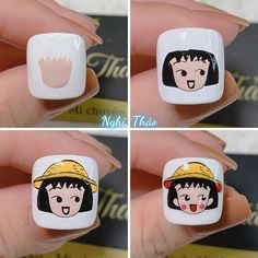 Nail Art For Kids, New Nail Art, Cartoon Nail Designs, Mickey Nails, Nail Swag, Nail Arts, Chibi, Sticker, Finger Nails
