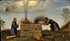 The Sacrifice of Cain and Abel — Mariotto Albertinelli Italian Paintings, European Paintings, Small Paintings, Oil Paintings, Harvard Art Museum, Museum Of Fine Arts, Cain Y Abel, Artist Birthday, A4 Poster