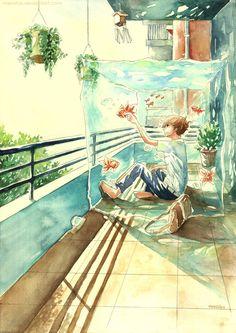 Goldfish Balcony by Menstos on @DeviantArt