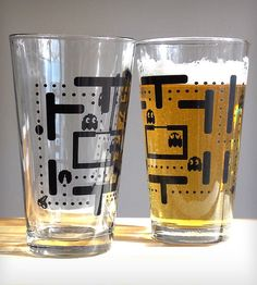 Pair of Pac Man Pint Glasses by Crawlspace Studios // oh yes, what fun! Nostalgia and geekery :) #productdesign