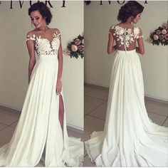 Line See-through Bateau Off the Shoulder Prom/Evening Dress,Lace Appliqued Floor length Ivory Party Dress,Chiffon Prom Dress,wedding dress