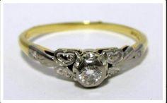Vintage Diamond Ring, 18K Gold with Palladium Setting Price : $450 Au $ Buy Now at ETSY  Shop :  AntiqueDecoRingsShop