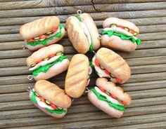 Fimo Polymer Clay Miniature Food Sandwich Charms. Chicken Salad Bun with Tomato Lettuce Cucumber. Set of 8. Handmade without Cutters