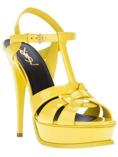 Yellow is the big color for this spring and summer 2014....it's still a timeless piece that will not be outdated. These yellow YSL sandals are on my list for the summer to pair with neon or yellow clutch
