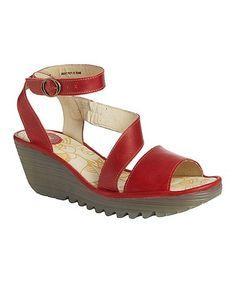 Red Yesk Leather Sandal #zulily #zulilyfinds