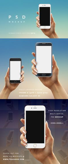 iPhone 6 space grey and gold colors and Samsung Galaxy s6 PSD mockups. All devices are vector layered with replaceable phone screen.