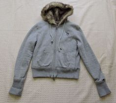 Abercrombie & Fitch Women Gray Faux Fur Sweater Size L #AbercrombieFitch #BasicJacket