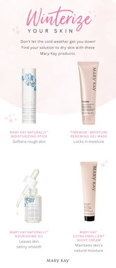Don't let the Winter chills get your skin down! These nourishing skin care products will help your skin feel moisturized and rejuvenated. Mary Kay Party, Mary Kay Cosmetics, Selling Mary Kay, Beauty Consultant, Mary Kay Makeup, Belleza Natural, Skin Care, Winter, Best Mary Kay Products