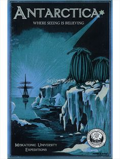 'Antarctic Expedition' Photographic Print by aglastudio Lovecraft Cthulhu, Hp Lovecraft, Gothic Horror, Horror Art, Mountains Of Madness, Yog Sothoth, Call Of Cthulhu Rpg, Lovecraftian Horror, Eldritch Horror