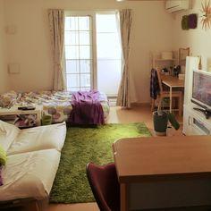 atsukunさんの、部屋全体,無印良品,IKEA,ベッド,ワンルーム,一人暮らし,ニトリ,カウンターキッチン,リクライニングソファ,田舎,一階,大東建託,緑と紫,のお部屋写真