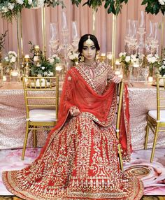 Classic red from Canada's Crossover Bollywood Se's 'Modern Ethnic' Collection. Desi Bride, Desi Wedding, Red Lehenga, Bridal Lehenga, Sangeet Outfit, Hollywood Red Carpet, South Asian Bride, Indian Bridal, Looking Gorgeous