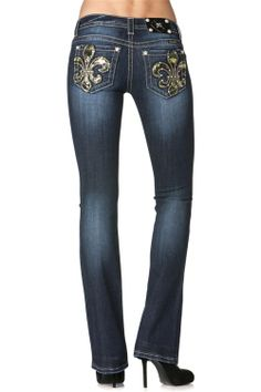 Miss Me Women's Green Camoflage Sequin Low Rise Bootcut Jeans - Dark Stonewash -- Ok country girls, do we have the jeans for you! Unlike any other Miss Me Jean, this pair has camo fleur de lis back pockets! What more could you want! | SouthTexasTack.com