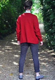 80'S RED PURE WOOL V-NECK BUTTONED CARDIGAN