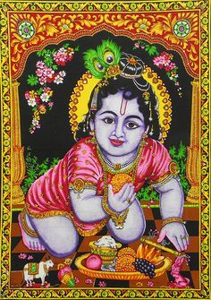 Bal Gopal Krishna (Print on Cloth with Sequin Work - Unframed)