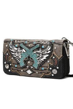 44b2cf3a Wings And Guns Double Zip Around Wallet (Pewter) – Cutting-Edge Cowgirl  Company