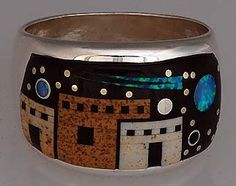 Calvin Begay Navajo Cosmic Pueblo Inlay Ring Size 12.5