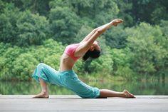beautiful yoga, lunge, outdoors