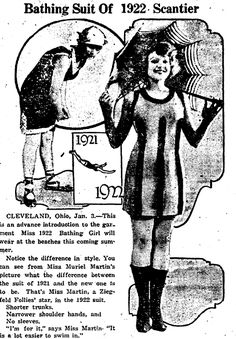 """A newspaper ad for the latest swimsuit fashion, published in the Miami District Daily News (Miami, Oklahoma), 3 January 1922. Read more on the GenealogyBank blog: """"Great-Grandmother's Swimsuit in Vintage Fashion Articles & Photos."""" http://blog.genealogybank.com/great-grandmothers-swimsuit-in-vintage-fashion-articles-photos.html"""