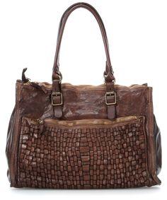 wardow.com - #campomaggi, Lavaggio Stone Handtasche Leder braun 37 cm