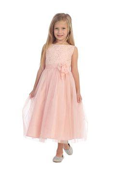 Blush Sleeveless Lace Detailing Flower Girl Dress with Overlay Tulle Skirt Blush Flower Girl Dresses, Blush Dresses, Little Girl Dresses, Girls Dresses, Bridesmaid Dresses, Wedding Dresses, Baby Dresses, Special Dresses, Special Occasion Dresses