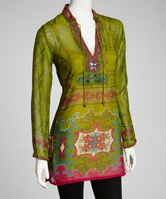 Take a look at this Lime & Pink Sheer Beaded Tunic by Barbara Gerwit on #zulily today! $60 !!