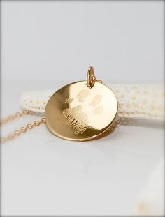 Your pets actual paw or nose print in 14k gold fill or .925 sterling silver --- so precious