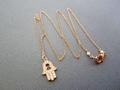 Hamsa Necklace Rose gold Jewelry Dainty jewelry tiny by Lotus411, $46.00