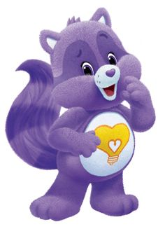 Bright Heart Raccoon is a Care Bear Cousin who appeared in the original Care Bears TV series and films. He has alternating light and dark purple fur and his Belly badge is a yellow heart-shaped light bulb.