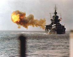 The battleship USS Idaho shells Okinawa on April 1, 1945